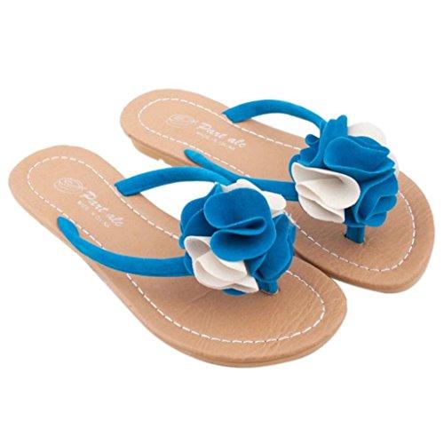 Goodsatar Mujeres Bohemia Zapatos Zapatos Plana Flor Ocio Señora Sandalias Zapatos De Playa Al Aire Libre Azul