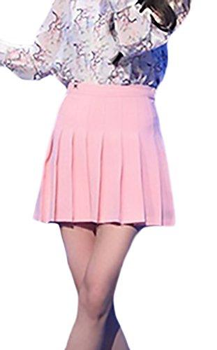 Minigonna Donna Estata Moda Puro Colore Uniforme Gonna Pieghe Elegante Casual Vita Alta Linea Ad A Gonne Ragazze Abbigliamento Ragazza Rosa