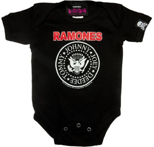 (Toddler and Infant THE RAMONES One Piece Baby Suit in Black - Term 3 (6-12 mths))