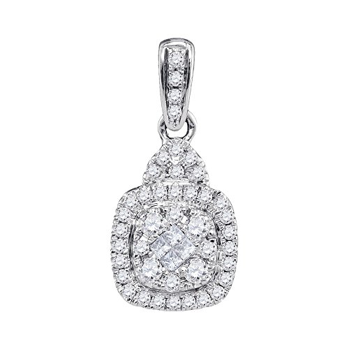 White Gold Diamond Square Pendant - Roy Rose Jewelry 14K White Gold Womens Princess Round Diamond Square Soleil Cluster Pendant 3/8 Carat tw