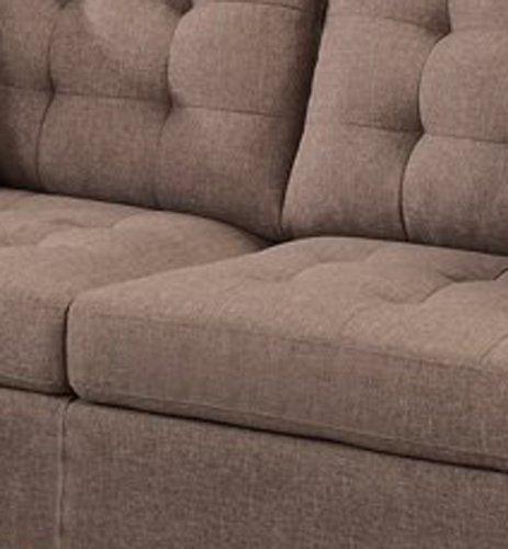 Poundex F6904 Bobkona Windsor Linen-Like 2 Piece Sofa and Loveseat Set, Light coffee