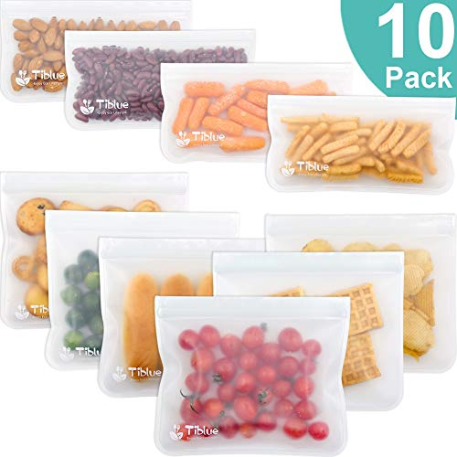Reusable Storage Bags - 10 Pack Leakproof Freezer Bag(6 Reusable Sandwich Bags & 4 Reusable Snack Bag) - EXTRA THICK BPA FREE Reusable Ziplock Lunch Bag for Food Storage Home Organization Eco-friendly
