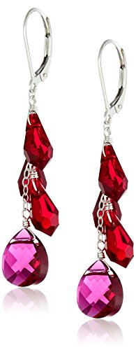 Sterling Silver Swarovski Elements Siam Colored Multi-and Briolette Teardrop Earrings (Element Multi)