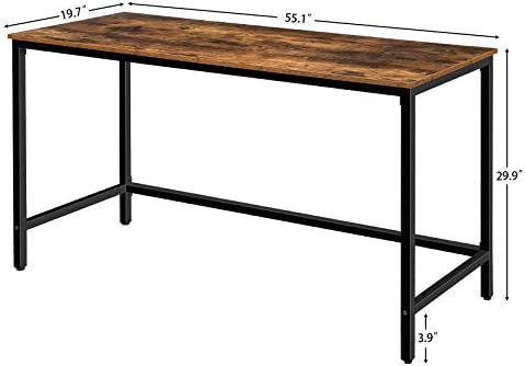 HOOBRO Computer Desk, 55 Inch Simple Writing Desk, Industrial Office Study Workstation for Home Office, Sturdy Metal Frame, Easy Assembly, Rustic Brown BF54DN01