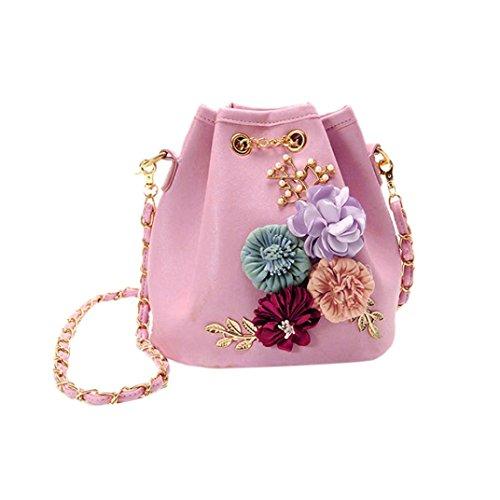 Women Fashion Appliques Crossbody Chain Shoulder Bags Purse Bag (Pink) by Napoo-Bag