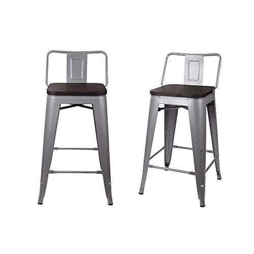 """Back Chair Pressed (GIA M01-24B_GR_WOOD_2 24"""" Low Back Stool 2-pack Gry/Dark)"""