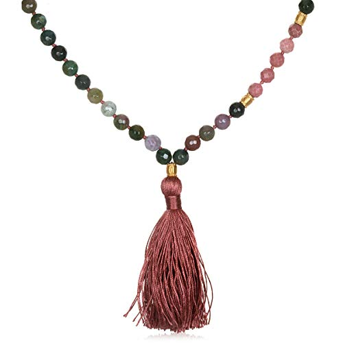 - Satya Jewelry Women's Fancy Jasper Gold Moon Mala Tassel Necklace 40-Inch, Pink, One Size