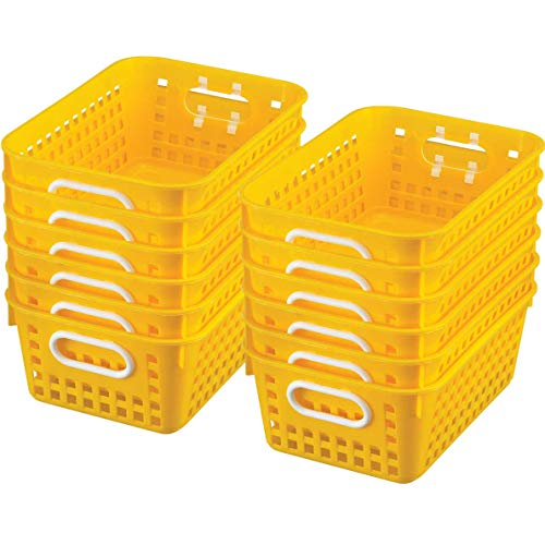 "Really Good Stuff Multi-Purpose Plastic Storage Baskets for Classroom or Home Use - Stackable Mesh Plastic Baskets with Grip Handles 11"" x 7.5"" (Single-Color Set of 12)"