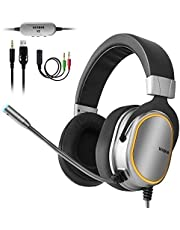 $49 » Gaming Headset for PS4, Xbox One Controller, PC, 3.5mm Surround Stereo Over Ear Headphones with Noise Cancelling Microphone, LED Lights & Soft Memory Earmuffs for Laptop Mac Nintendo Switch