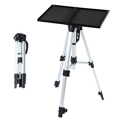Aluminum Tripod Projector Stand with Plate, Adjustable Laptop Stand, Adjustable Height 17