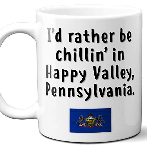 "Happy Valley Pennsylvania Coffee Mug Souvenir Gift.""Chillin In"" With PA Flag. 11 Ounces."