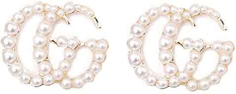 Luxury Letter G Pearl Initial Stud Earrings Drop Statement Earrings for Women Girls