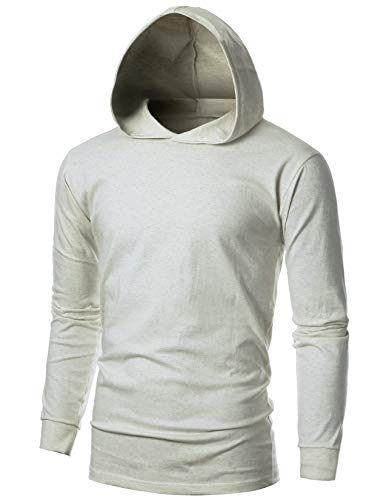 OHOO Mens Slim Fit Long Sleeve Lightweight Echo Knit Hoodie with Kanga - Hood Knit Jersey