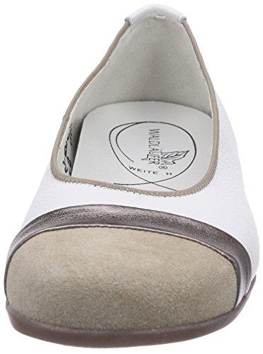 Waldläufer Hamiki Damen Geschlossene Ballerinas Mehrfarbig (Velour Marakesch Pigalle cappucino sand weiss)