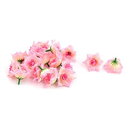 eDealMax Tela boda de la Flor Artificial Heads Handcraft DIY pétalos de rosa ornamento 20 Pcs