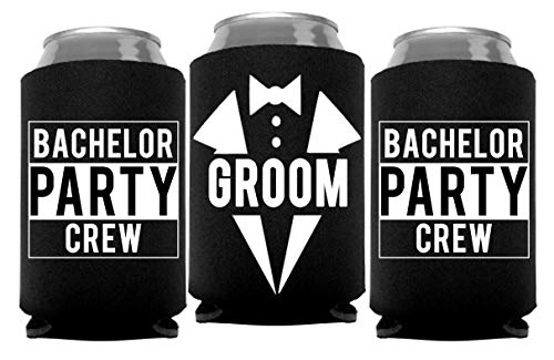 Groom and Bachelor Party Crew Squad Bachelor Party Can Coolers, Set of 12 White and Black Beer Can Coolies, Perfect Bachelor Party Decorations and as Grooms Men Gifts -