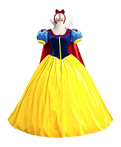 Halloween Women's Snow White Princess Costume Dress for Adult Classic Deluxe Ball Gown Cosplay with Cloak Headband (M, Snow White)