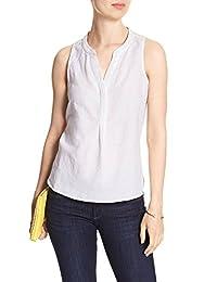 Banana Republic Women's Knit Trim Half Placket Linen Tank Top White