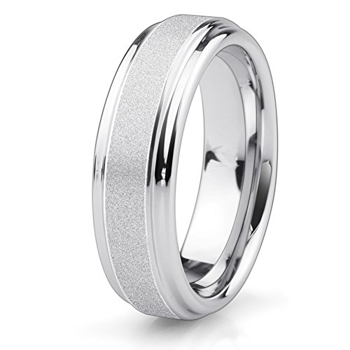 Mens 6mm Sandblast (Wedding Band 6mm Tungsten Carbide Engagement Ring Men Women-Sandblasted Center- Rounded Smooth Interior)