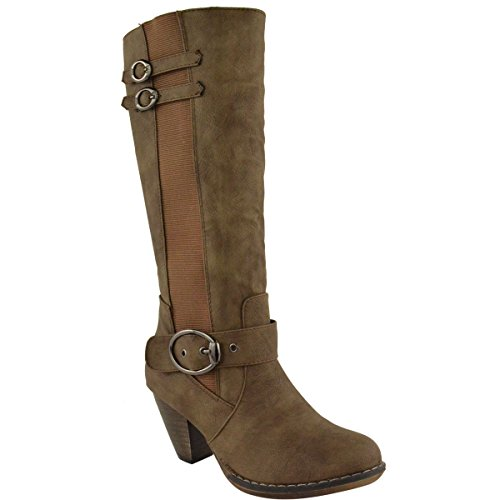 Fashion Thirsty Womens Wide Leg Knee High Mid Calf Block Heel Riding Boots Stretch Shoes Size Brown Faux Leather XA9fc4JeMw