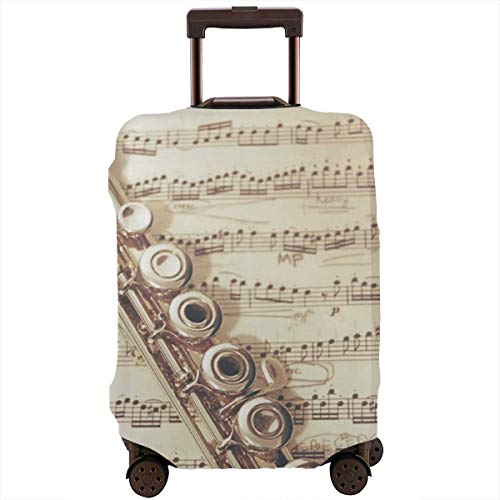 Yuotry Travel Luggage Cover - Flute Music Zipper Suitcase Protector Luggage with Fixed Buckle Fits 18-32 Inch Luggage S