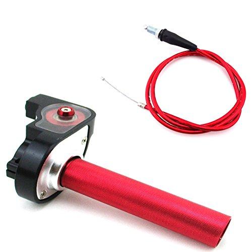 Turn Throttle - TC-Motor Red 1/4 Turn Aluminum Handle Twist Throttle Cable For 50cc 70cc 90cc 110cc 125cc 140cc 150cc 160cc Pit Dirt Motor Bike XR50 CRF50 KLX110 SSR Thumpstar Lifan TTR YZF DHZ SDG
