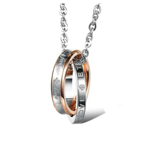 MoAndy Jewelry Stainless Steel Women's Pendant Necklaces Double Rings Rose Golden Length 50cm ()