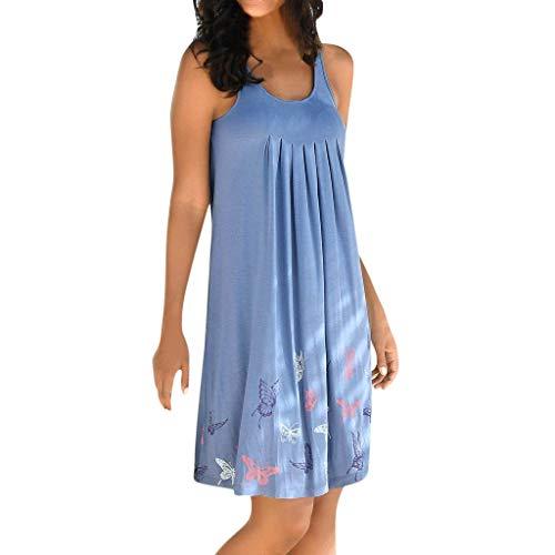 iNoDoZ Women's Casual Bohemian Sleeveless Printed Pliesse Above Knee Party Dress ()