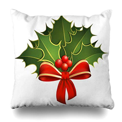 Decor Champ Throw Pillow Covers Leaf Green Wreath Christmas Holly Branches Bow Holidays White Mistletoe Red Ribbon Berry Clip Copy Home Decor Sofa Pillowcase Square Size 20 x 20 Inches Cushion Case