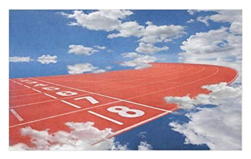 Lunarable Olympics Doormat, Lanes of Running Track into The Sky Contest Dream Big Landscape Picture, Decorative Polyester Floor Mat with Non-Skid Backing, 30