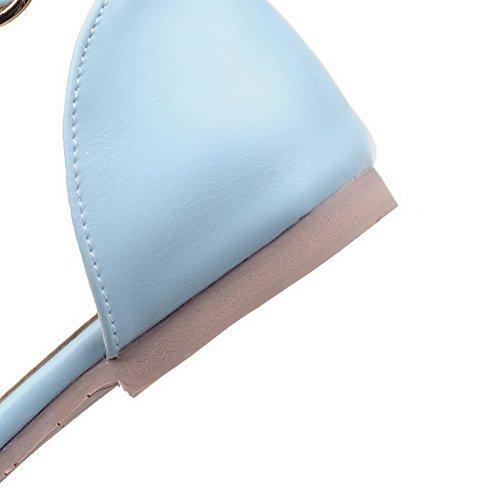 VogueZone009 Puntera Abierta Sólido Hebilla Sandalia Plano con Cierre de tobillo Azul