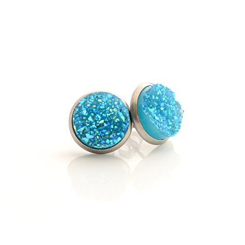 Silver Tone Stud Earrings 12mm - Aqua Blue Faux Druzy (Blue Quartz Earrings)