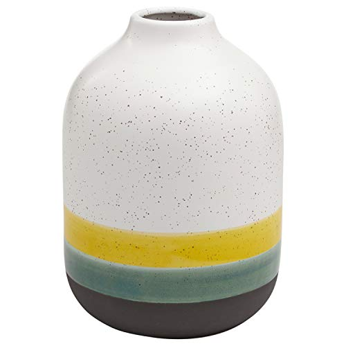 Rivet Westline Modern Indoor Outdoor Hand-Painted Stoneware Flower Vase - 9.5 Inch, Yellow White Blue Black