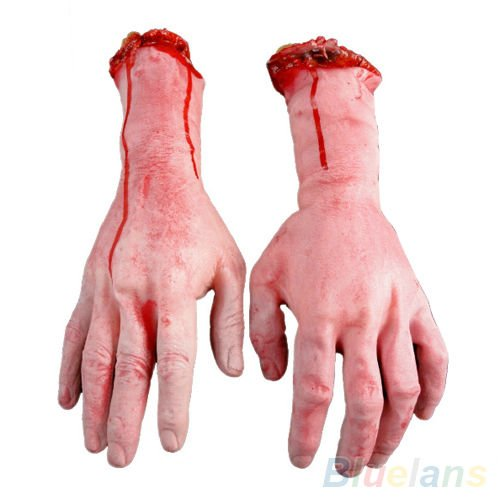 Bloody Hands Zombie Skinned Arm Skeleton Halloween Prop Body Parts Walking Dead