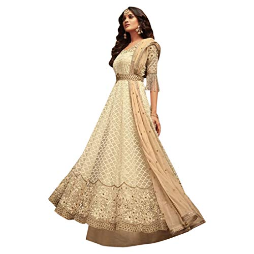 2926bbb6975 Cream Net Designer Punjabi Party Anarkali Salwar Kameez Semi Stitched  Christian Abaya Indian Dress Salwar kameez