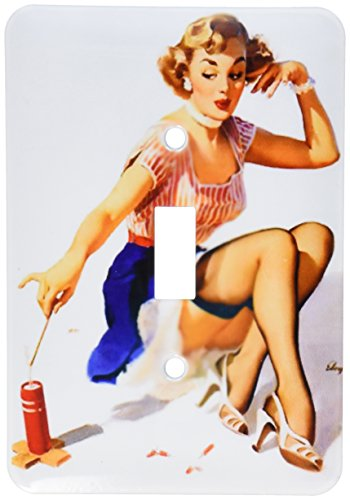 3dRose lsp_179576_1 image of famous elvgren pinup girl with fire cracker painting - Single Toggle Switch by 3dRose
