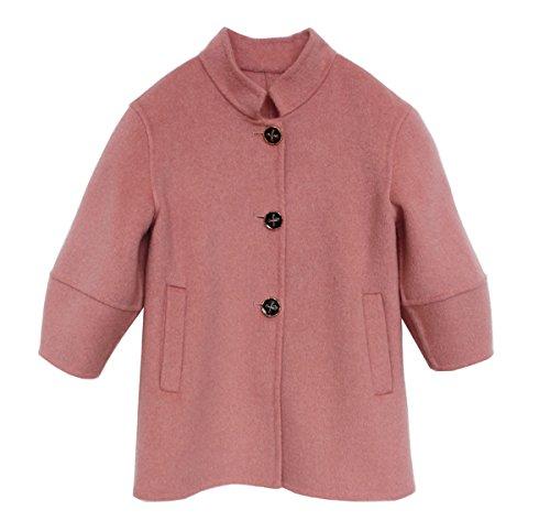 Kids Woolen Overcoat Girls Autumn Winter Warm Coat Pink by ZYYGL