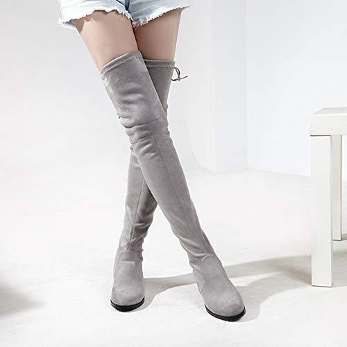 grey Zipper Above Fashion Women 5 The light Melady Boots Calf Knee Heels Low wXBwxz7