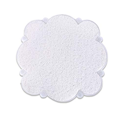 """MAYSHINE Loofah Shower,Bath, and Tub Mat,8 Big Suction Cups Non-Slip,Mildew Resistant and Phthalate Free, Clear Materials Make, Round Petal Shape,Machine Washable (22""""x22"""") -"""