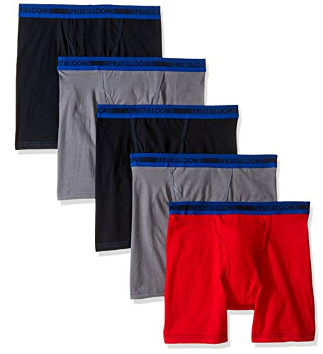 Fruit of the Loom Big Boys' 5 Pack Sport Boxer Brief, Assorted, L