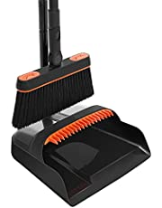Broom Dustpan Set Combo with Long Handle Rotating Broom Standing Upright Dust Pan and Broom for Hardwood Floors Kitchen Lobby Office Home