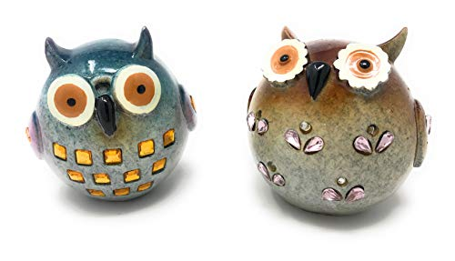 (Green Tree Jeweled Whimsical Wise Owls Statues, Set of 2 Figurines)