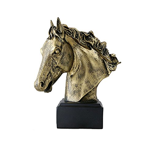- Elegant Vintage Resin Horse Head Yellow Carving Fine Crafts Ornaments Office Home Decorations Gift Figurine Sculpture Ar
