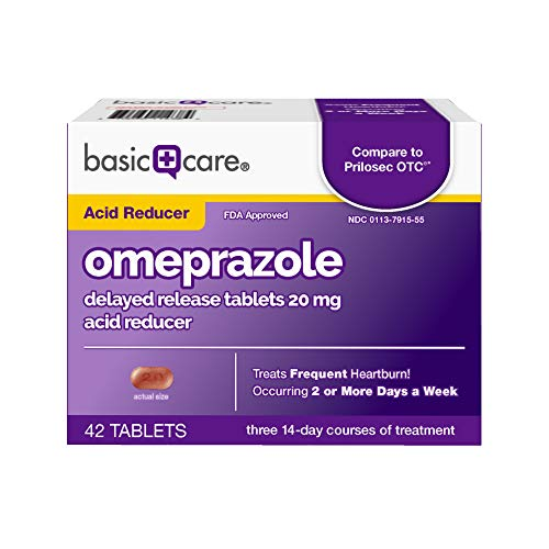 Basic Care Omeprazole Delayed Release Tablets 20 mg, Acid Reducer, 42 Count (Best Medication For Burns)