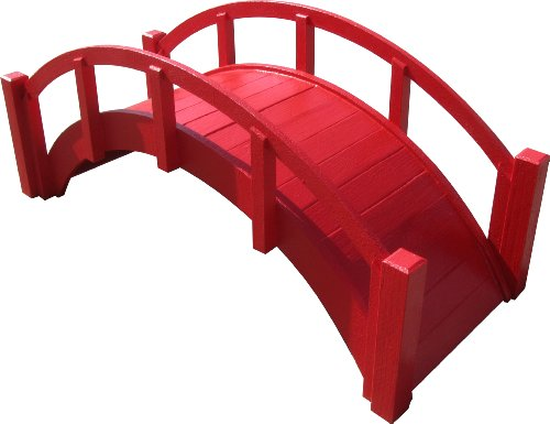 SamsGazebos™ Miniature Japanese Wood Garden Bridge, 29-Inch, Red