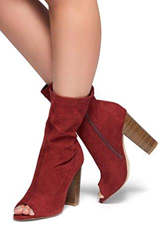 Herstyle Kerry Calcetín De Diseño, Con Tacón Grueso Peep Toe Botaie De Tacón Borgoña