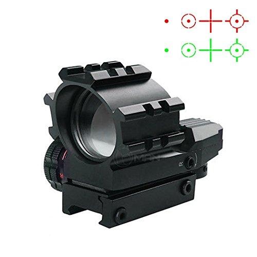 Metal Optic Sights (UUQ Holographic Sight 4 Reticle Red/Green Dot Illuminated Adjustable Optics Reflex Sight with Rails)