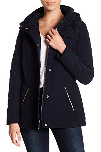 Laundry Quilted Coat (Laundry by Shelli Segal Quilted Hooded Coat Jacket Navy (L))