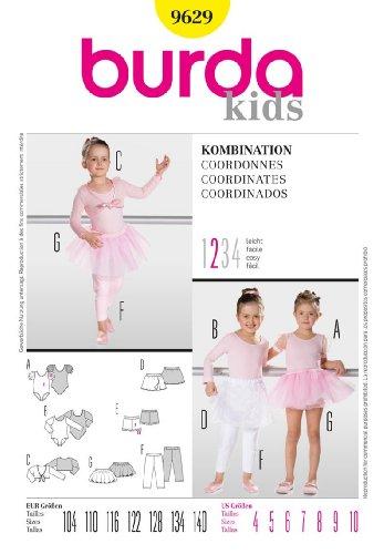 BURDA 9629 GIRLS' BALLET LEOTARD, SKIRT, LEGGINGS (DANCE WEAR) SIZE: 4,5,6,7,8,9,10 ~ SEWING ()