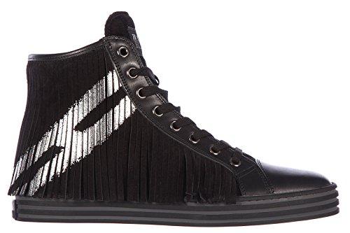 Hogan Rebel scarpe sneakers alte donna in camoscio nuove rebel nero